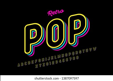 Retro pop art style font, alphabet letters and numbers, vector illustration