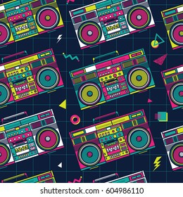 Retro Pop Eighties Boombox Radio Seamless Pattern. 80's Background Wallpaper
