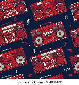 Retro Pop Eighties Boombox Radio Seamless Image Vectorielle De Stock