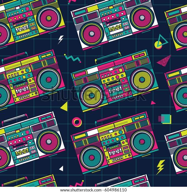 Retro Pop Eighties Boombox Radio Seamless Stock Vector Royalty