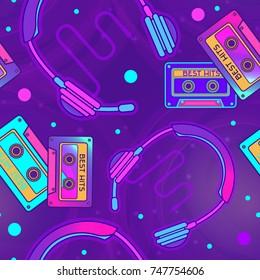 Retro Pop Eighties  Radio Seamless Pattern. Futuristic 80's Background Wallpaper