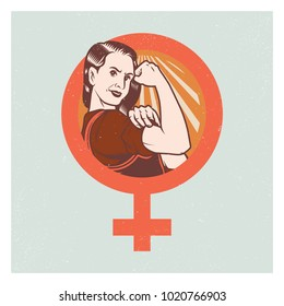 Retro Pop Propaganda Strong Woman Poster And Elements.