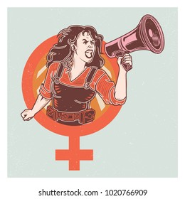 Retro Pop Propaganda Woman Voice Poster And Elements.
