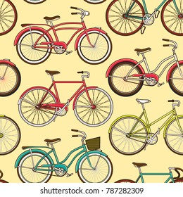 Retro pop and vintage bicycle bike seamless pattern. Wallpaper background