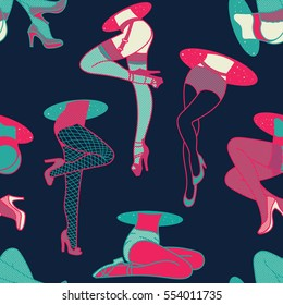 Retro Pop Woman Lingerie and Stockings Seamless Pattern. Vector Wallpaper