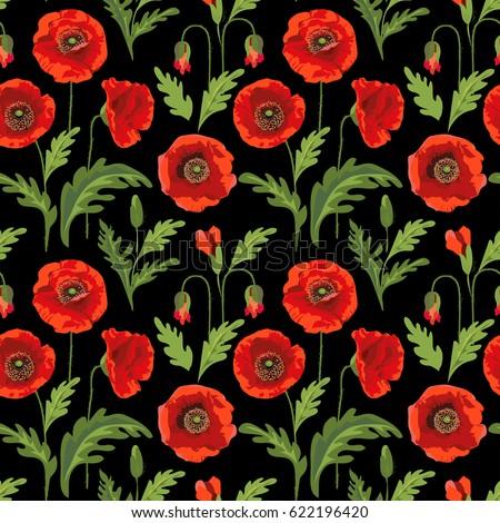 retro poppy flower summer seamless pattern のベクター画像素材