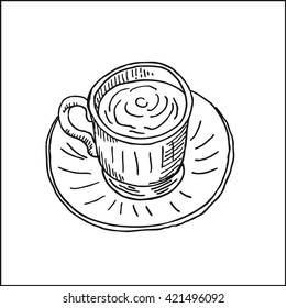 retro porcelain coffee cup and saucer. vector hand drawn sketch illustration