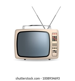 Retro portable tv with blank screen. Isolated on white background. Vector illustration.