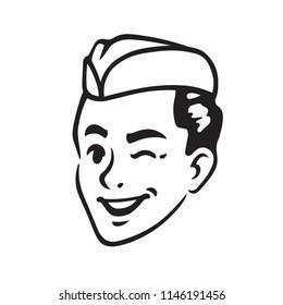 Retro portrait of Soda Jerk boy winking. Classic 50s soda fountain or ice cream server. Vintage vector illustration.
