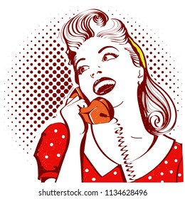 Retro portrait of young attractive woman talking on phone