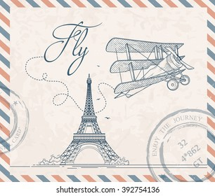 Retro postage stamp with triplane and Eiffel tower. Vector vintage illustration