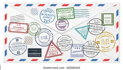 Retro postal envelope template with colorful postage stamps from different countries vector illustration