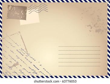 """Retro postcard """"Air mail"""""""