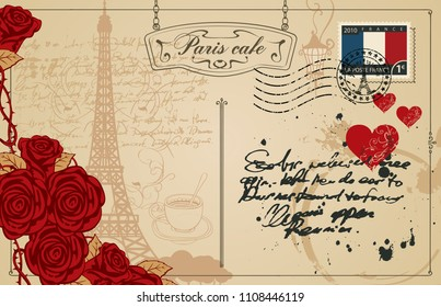 Retro postcard with Eiffel tower in Paris, France. Romantic vector postcard in vintage style with red hearts and roses, rubber stamp and words Paris cafe on the background of old manuscript with spots