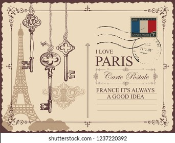 Retro postcard with Eiffel tower in Paris, France. Vector postcard in vintage style with old keys and keyholes, with words I love Paris and place for text on beige background with rubber stamp