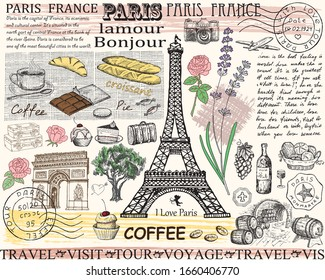Retro postcard with Eiffel tower in Paris, France. Vector illustration. Vintage design with hand drawn sketch. Line art style.