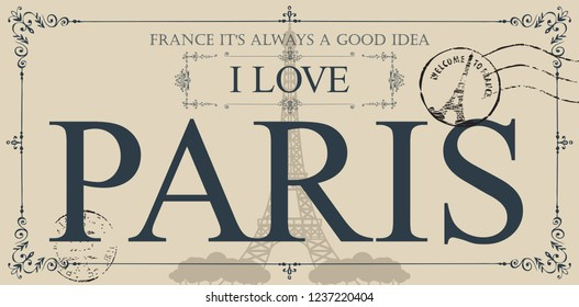 Retro postcard with the famous french Eiffel tower in Paris, France. Vector postcard in vintage style with words I love Paris, french landmark and rubber stamp