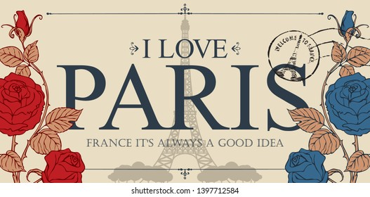 Retro postcard with the famous french Eiffel tower in Paris, France. Vector postcard in vintage style with words I love Paris, french landmark, roses and postmark