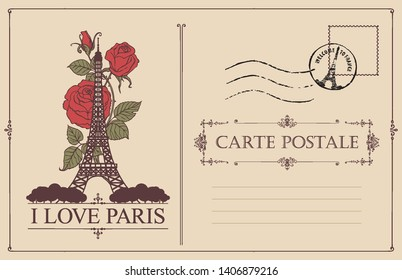 Retro postcard with the famous french Eiffel tower in Paris, France. Vector postcard in vintage style with words I love Paris, french landmark, roses, postmark and place for text