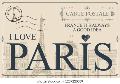 Retro postcard with words I love Paris and rubber stamp with Eiffel tower. Vintage vector card with contour drawings of the famous French architectural landmarks