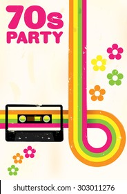 Retro Poster - 70s Party Flyer With Audio Cassette Tape