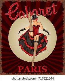 Retro poster with cancan dancer.