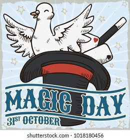 Retro poster with classic magic tricks: dove in the top hat, cards and wand for Magic Day celebration in October 31.