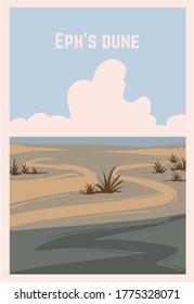 Retro poster of a desert Eph's Dune. Vector illustration of the great deserts.