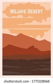 Retro poster of a desert Mojave. Vector illustration of the great deserts.