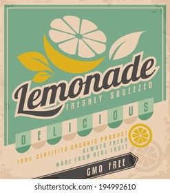 Retro poster design for ice cold lemonade. Vintage label for gmo free organic fruit product. Food and drink promotional ad template creative concept.