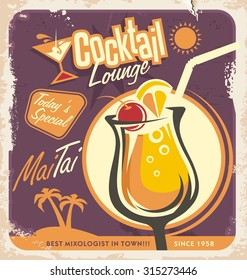 Retro poster design for one of the most popular drinks. Vintage menu template for cocktail lounge.