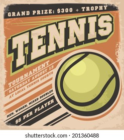 Retro poster design for tennis tournament. Sport and recreation creative design concept.