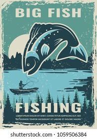 Retro poster of fisherman club with illustration of big fish. Vector fishing lake, fisher man on boat