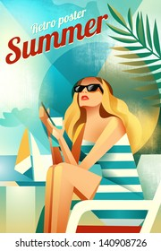 Retro poster with a girl sitting on the beach. Vector