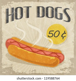 Retro poster Hot Dog with price