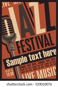 retro poster for the jazz festival with a microphone