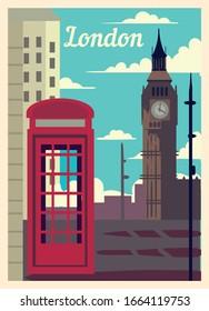 Retro poster London city skyline. London vintage, vector illustration.