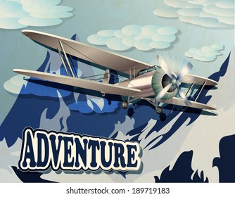 retro poster with mountain  and vintage biplane