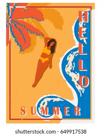 Retro poster with palm trees, sea, Girl and beach. Vintage postcard, the concept of summer holidays on the island. Vector illustration.