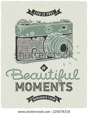 Retro Poster Photo Camera Quote Life Stock Vector Royalty Free