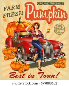 Retro poster with pin- up girl  in straw hat near Pickup truck full of pumpkins