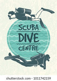 Retro poster for sport club of diving. Vector design template. Sport sea dive badge illustration