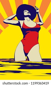A retro poster style vector illustration of a sunbather in a tropical  setting back-lit by an abstract sun setting in the background, bright happy warm summer colors.   11x17 aspect ratio - 5 colors