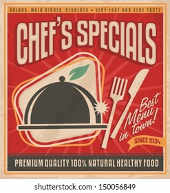 Retro poster template for best restaurant in town. Tasty and delicious food label. Vintage background  concept with classic design elements on old paper texture.