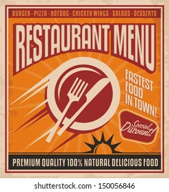 Retro poster template for fast food restaurant.