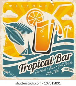 Retro poster template for tropical bar. Grunge seaside old paper card with cold drink and palm tree.