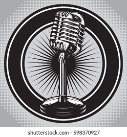 Retro poster with a vintage microphone. Vector illustration. Halftone