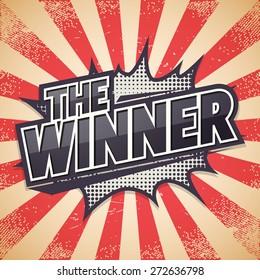 Retro poster, The Winner, Vector illustration