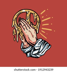 retro praying hand with peace illustration for t-shirt