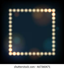 Retro presentation frame with lighting bulbs against de-focused background.